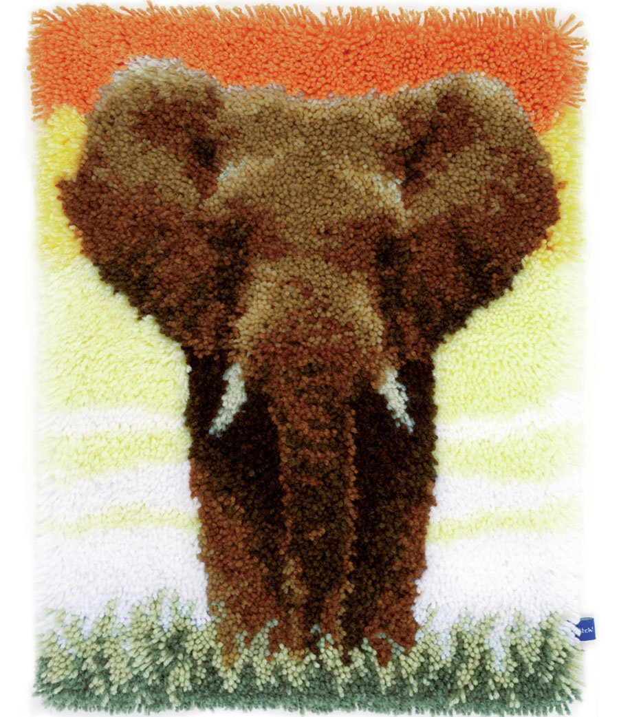 Latch Hook Kit: Rug: Elephant in the Savannah Vervaco PN-0150518