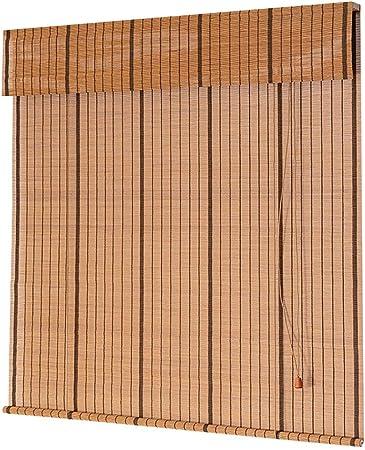 FF Estores enrollables Persianas enrollables Opacas Interiores, persianas de Madera para Dormitorio con Cenefa, Cortina de bambú con Ventanas de Aislamiento térmico, 70/90/110/130 cm de Ancho: Amazon.es: Hogar