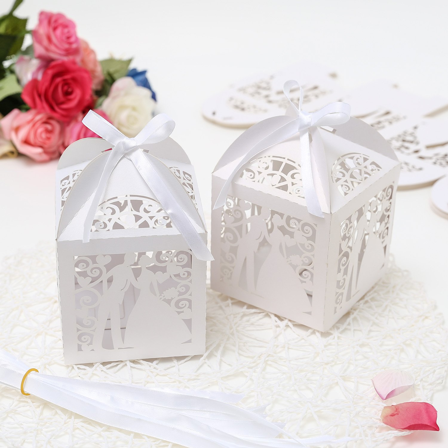 PONATIA 25PcsLot 4x4 Laser Cut Pearl Paper Party Wedding Favor ...