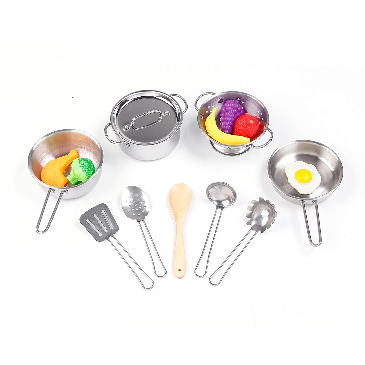 KIDAMI Large Size Kitchen Pretend Toys Stainless Steel Cookware Playset with 16 Pieces of Pots and Pans and Cooking Utensils for Kids (Upgrade)