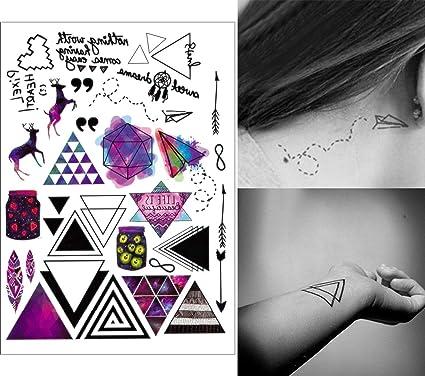 COKOHAPPY 5 Hoja Temporales Tatuaje - Colorido Color Triángulo ...