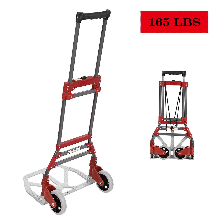 Aluminum Folding Hand Truck Dolly 165 lbs Capacity Foldable Heavy Duty Luggage Carts (Red)