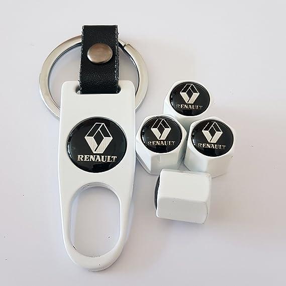 Renault Deluxe blanco neumático válvula tapas con llave llavero - Caja tema - Compatible con todos los modelos: Amazon.es: Coche y moto
