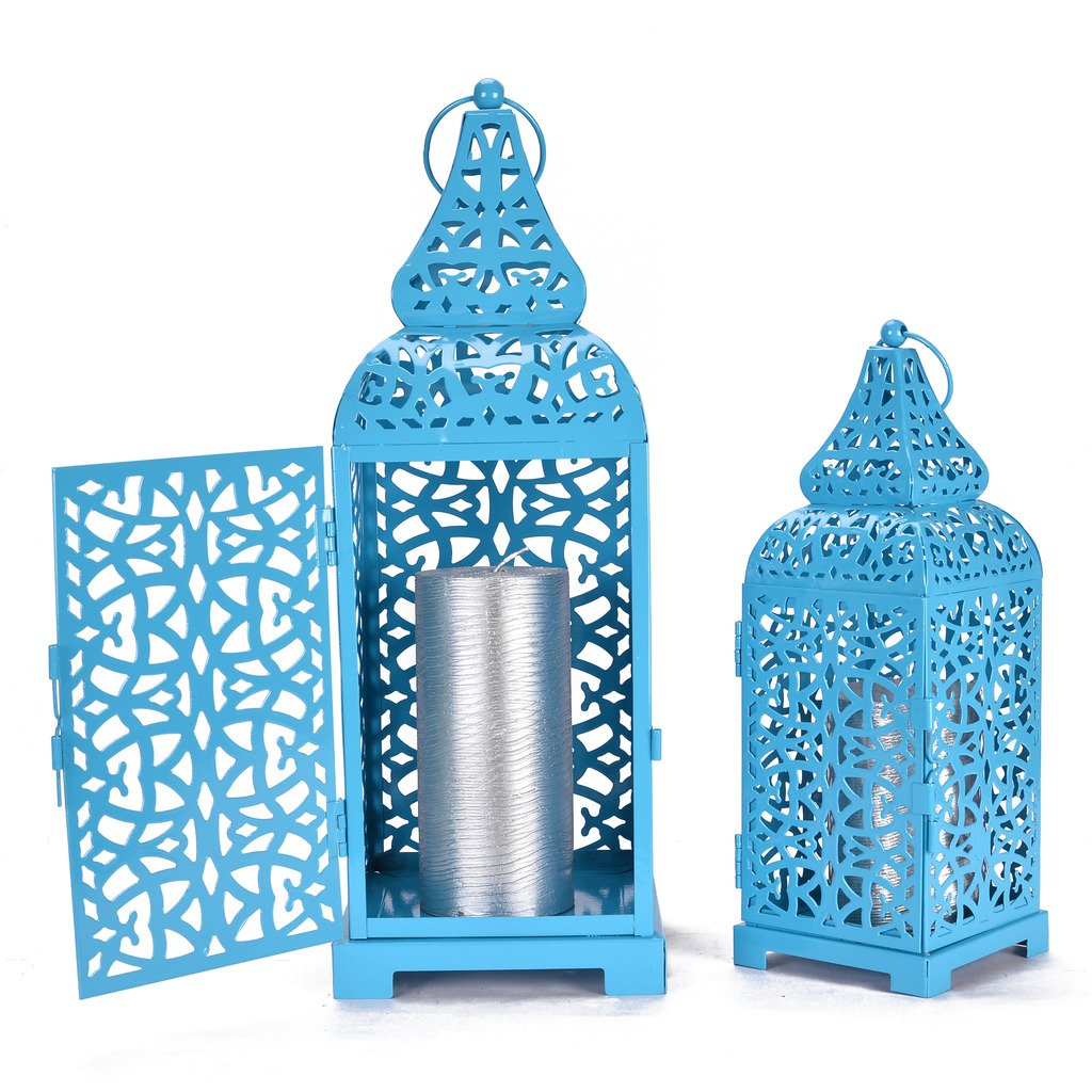 Christmas Metal Cage Set of 2 Blue Candle Stand Perfect for living Room Or Indoor Outdoor Decoration by Scrafts (Image #2)