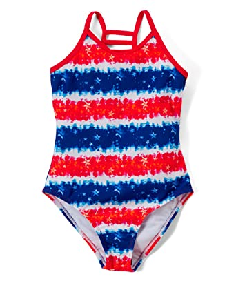 45bbaebe4709f Girls Lattice Beach Sport One Piece Swimsuit UPF 50+ Sun Protection Caged  Back (A