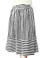 uxcell Women Elastic High Waist Stripes Midi A Line Skirt