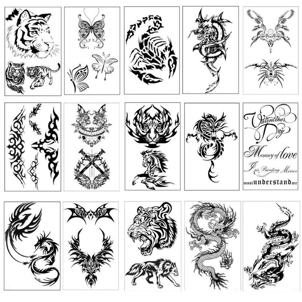 Amazon com wjood 15 sheets temporary tattoos stickers fake body arm chest shoulder tattoos body stickers for women men beauty