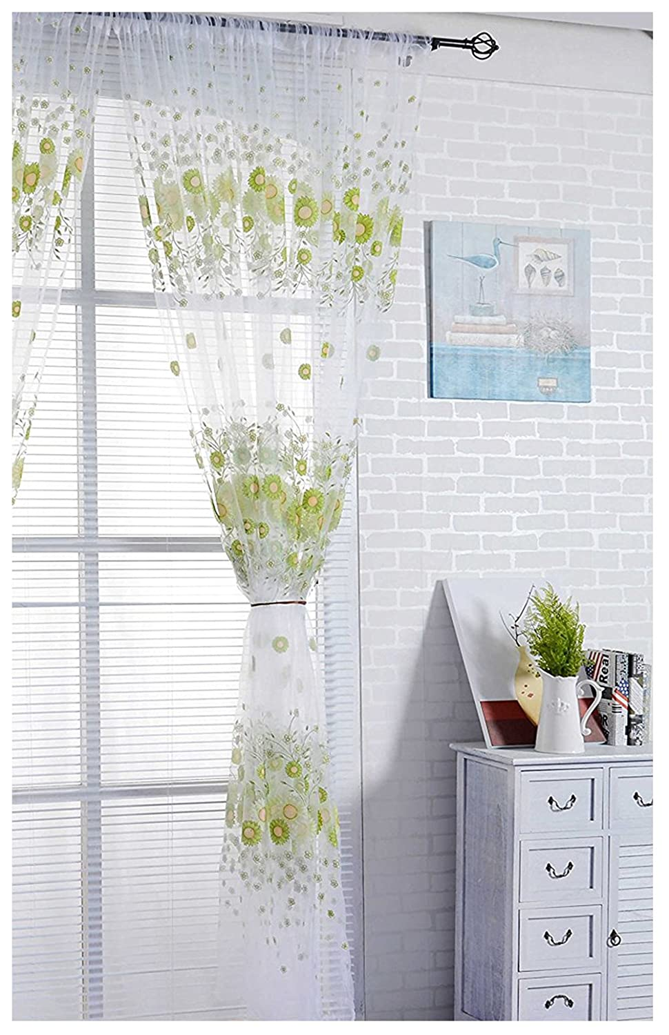 XARAZA Elegant Floral Embroidered Sheer Window Curtains Panel Drape for Home Decor (Butterfly-Green)