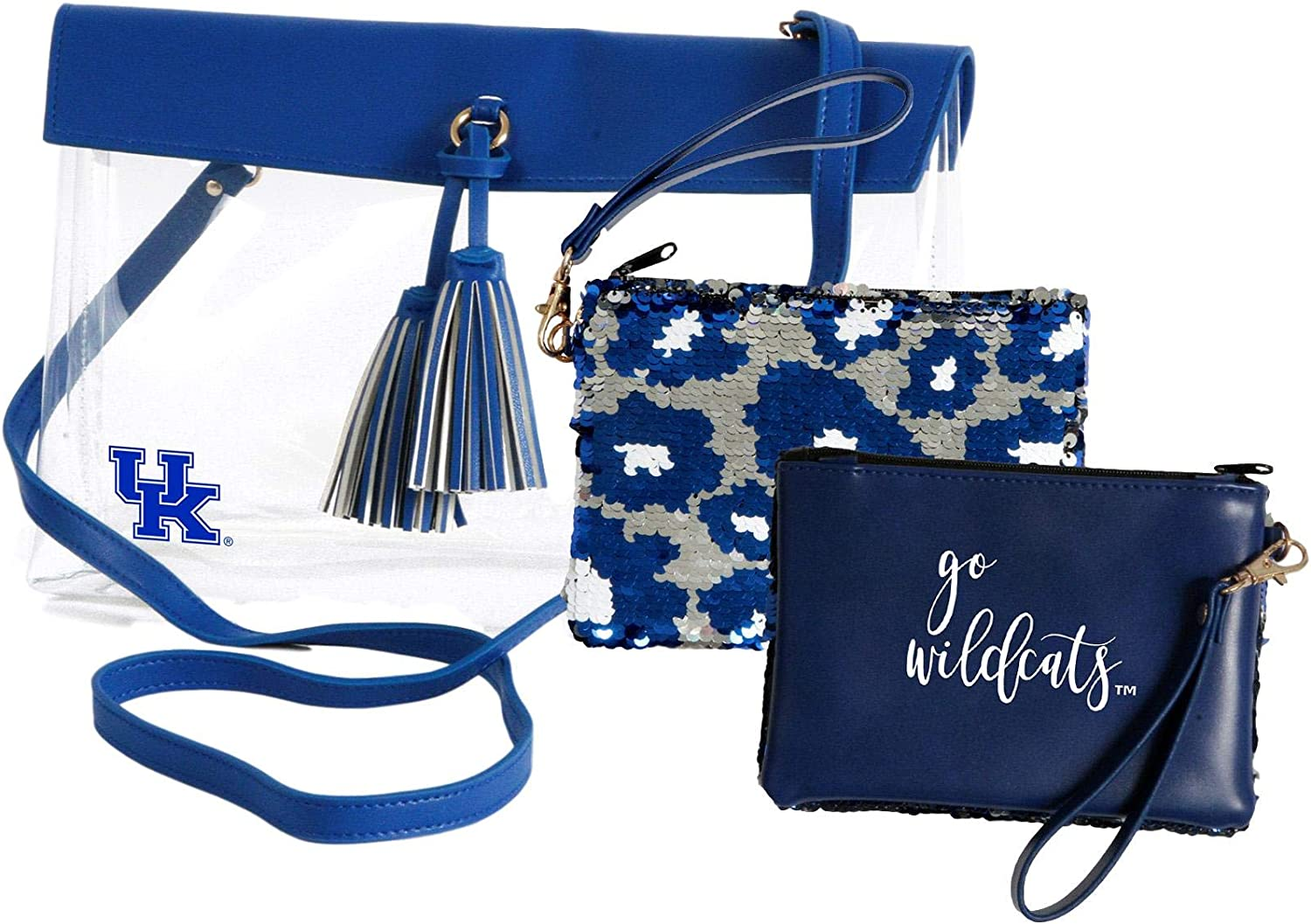 Kentucky Wildcats Clear Handbag//Purse and Reversible Sequined Wristlet Combo with Vegan Leather Trim and Removable Straps