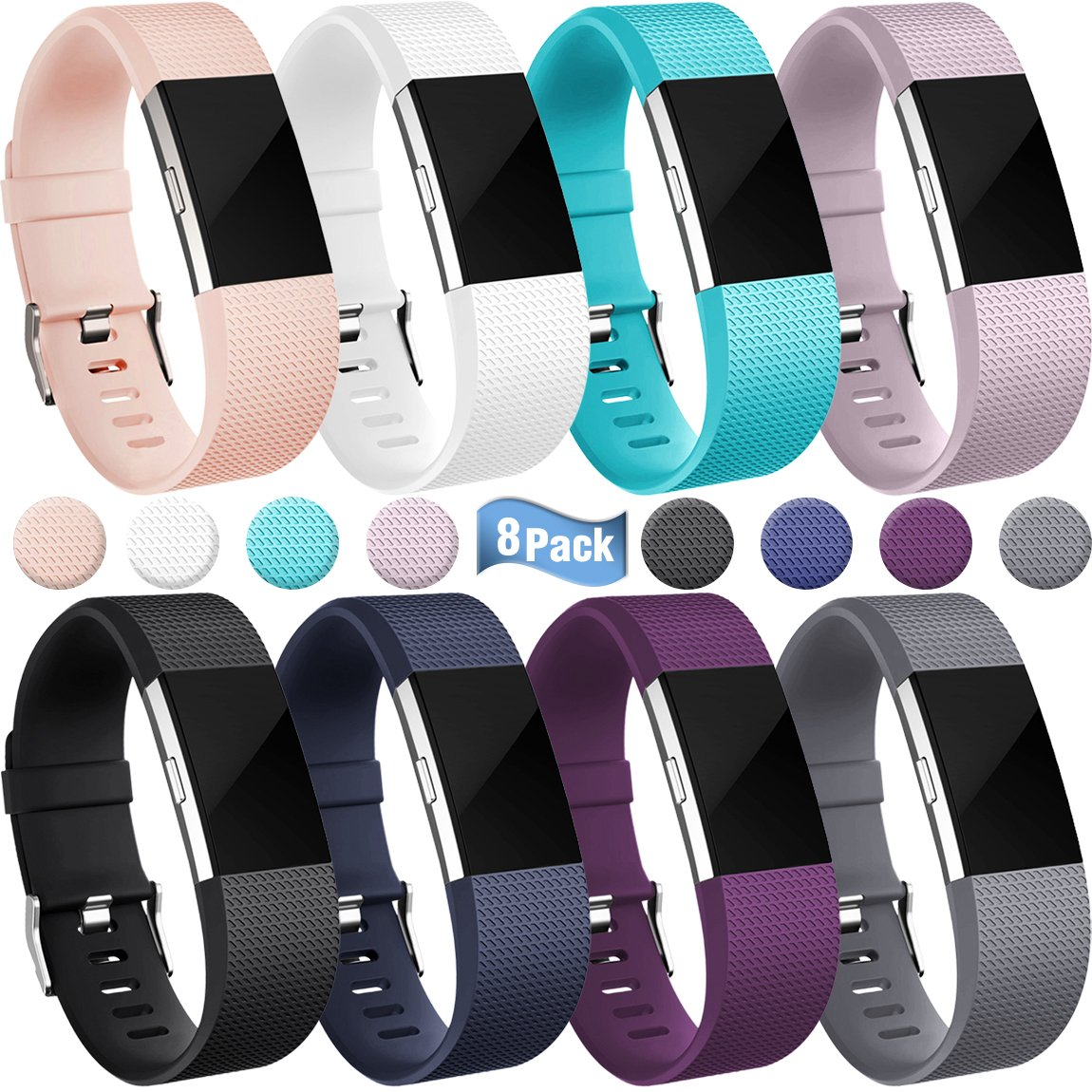 Maledan For Fitbit Charge 2 Bands, Replacement Accessory Wristbands for Fitbit Charge 2 HR, Small