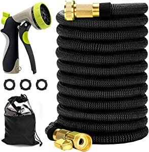 100ft Expandable Garden Hose, Flexible Expanding Water Hose Compact Retractable Hose with Strongest Double Latex Core and Fabric Solid Brass Fittings Metal Nozzle