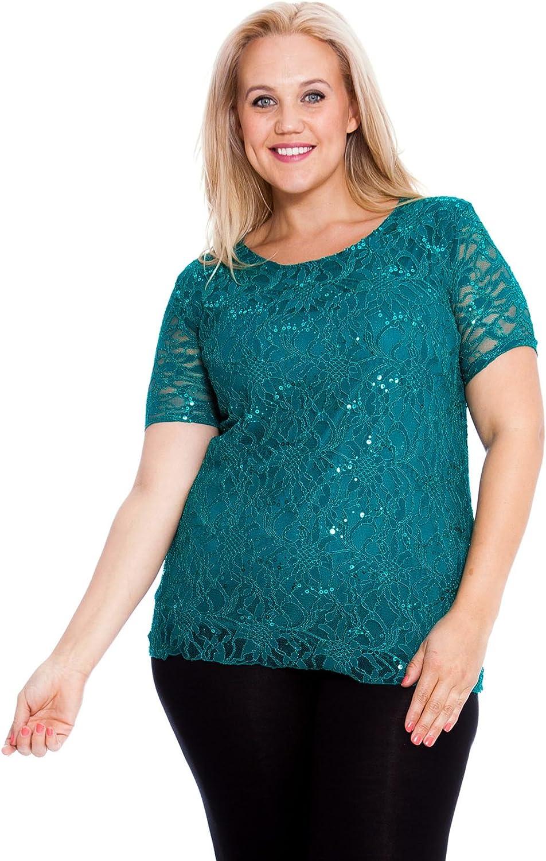 Ladies Short Sleeve Floral Lace Print Shirt Women Plus Size Round Neck Tunic Top