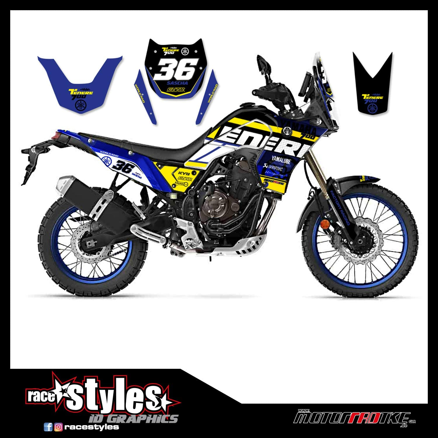 Kit Pegatinas Decal Stickers COMPATIBILI TENERE 700 T7 Rally Raid