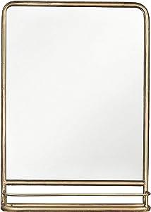 Creative Co-op Rectangle Metal Wall Mirror with Shelf, Single Vanity, Brass