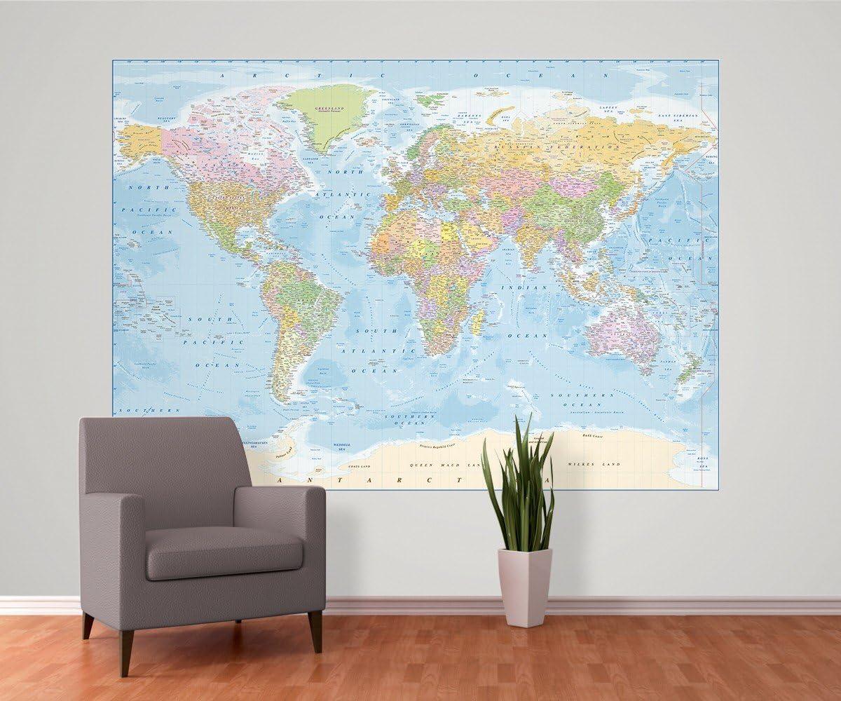 Diseño de mapamundi Mural de Pared - Nuevo 2,32 m x 1,58 m: Amazon.es: Hogar