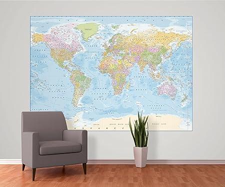 1 wall political world map feature wallpaper mural wood blue 158 1 wall political world map feature wallpaper mural wood blue 158 x 232 gumiabroncs Gallery