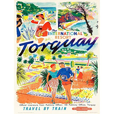 Torquay Vintage British Rail travel Reproduction poster Wall art.