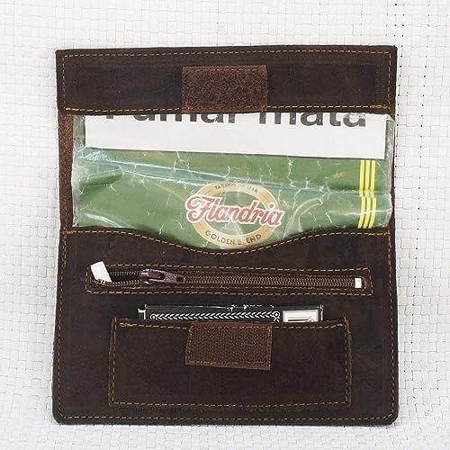 Bolsa de piel para tabaco de liar, pitillera color marrón ...