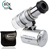 KINGMAS Mini 60x Microscope LED UV Light Pocket Jewelry Magnifier Jeweler Loupe