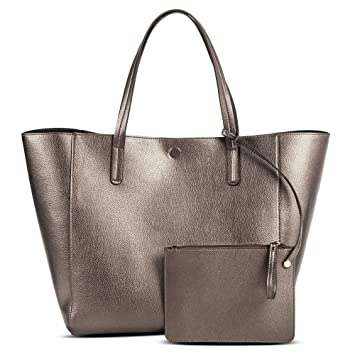 6163ed858a737 Amazon.com: Merona Women's Reversible Tote with Removable Pouch  (Pewter/Silver, 13