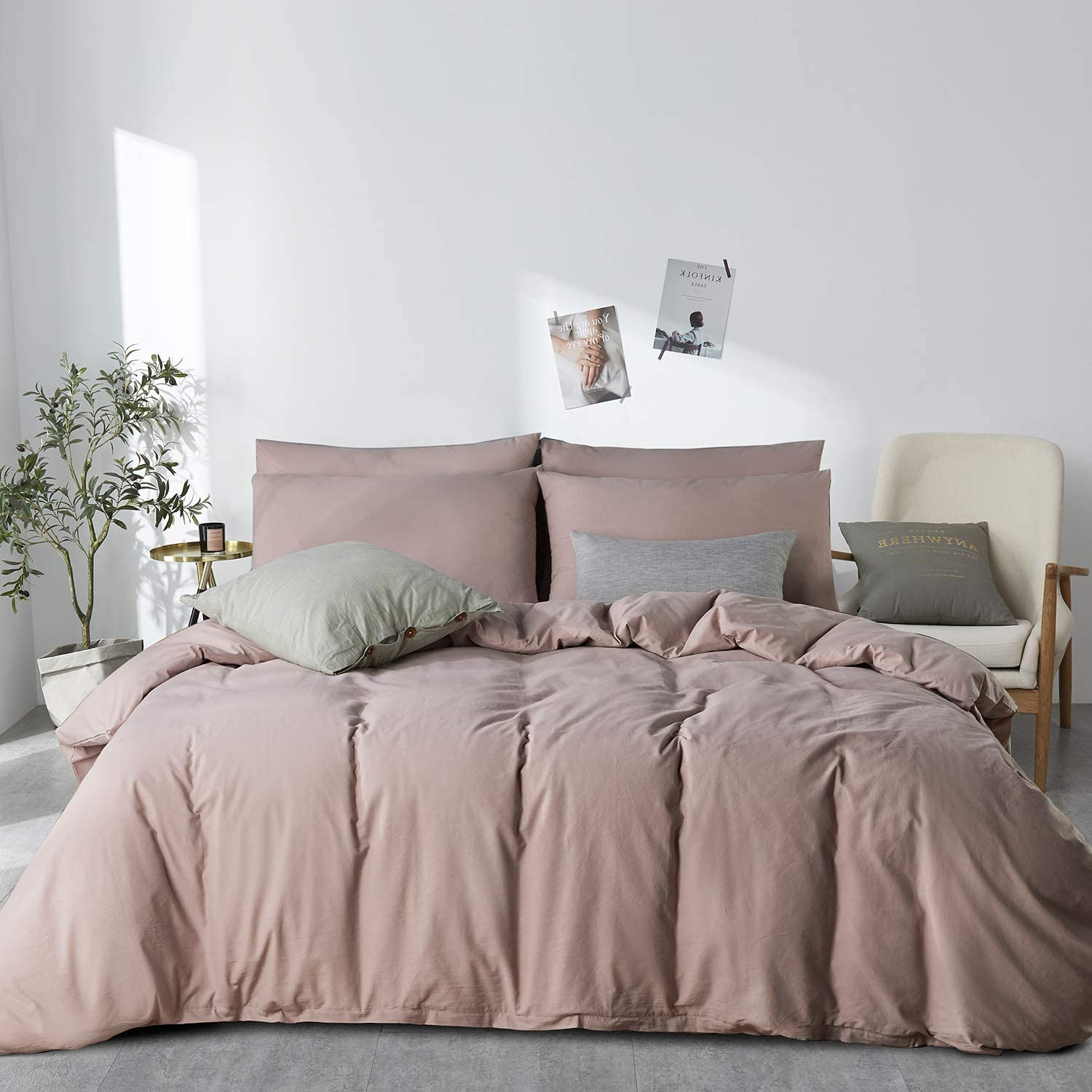 JELLYMONI Pink 100% Washed Cotton Duvet Cover Set, 3 Pieces Ultra Soft Bedding Set with Zipper Closure. Solid Color Pattern Duvet Cover Queen Size(No Comforter)