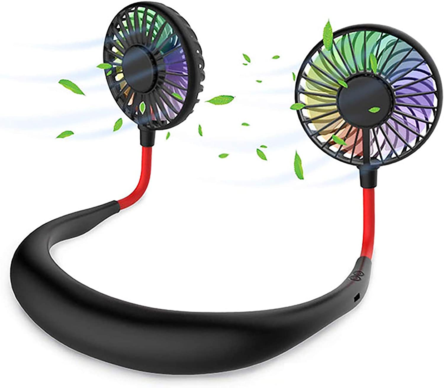 Portable Neck USB Fan - Hand Free Ultra Quiet Portable Neck Sports Fans, USB Rechargeable Personal Wearable Fan   Adjustable Speeds, LED Lighting - for Home Office Outdoor Travel & Mask Wearing