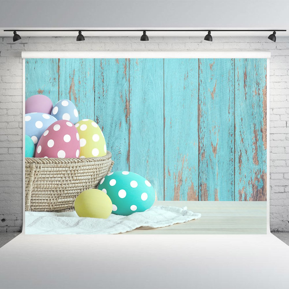 7X5FT Easter Wood Wall Photography Backdrops Vinyl Colorful Eggs Photo Studio Background Props Photographic Booth Birthday Party Decorations