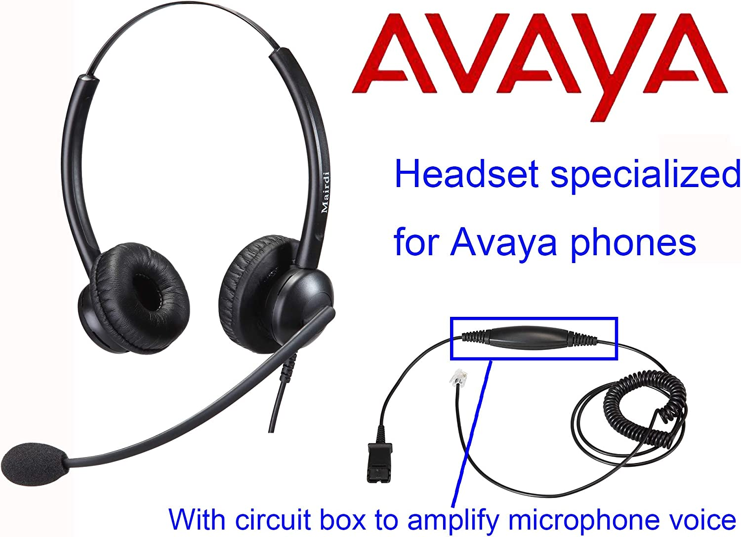 Telephone Headset with Noise Cancelling Microphone /& HIS Cable for Avaya IP 1608 1616 9601 9608 9611 9611G 9620 9621 9630 9631 9640 9641 9650 9670 J139