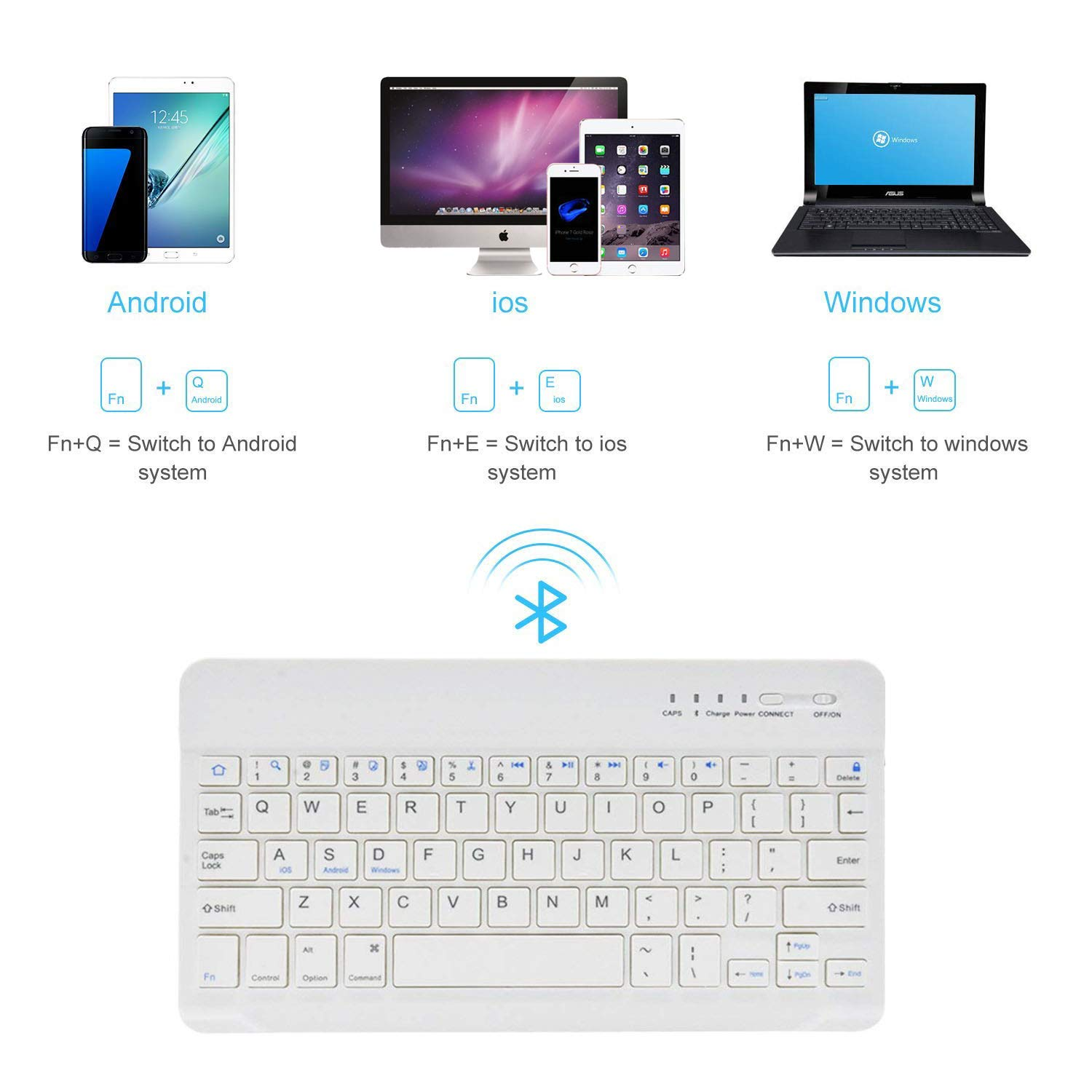 7-inch Mini Wireless Bluetooth Keyboard with Portable Rechargeable Compatible with all iOS,Mac,iPad,iPhone,Smart TV Samsung Tablets Phones Windows And Android OS Black