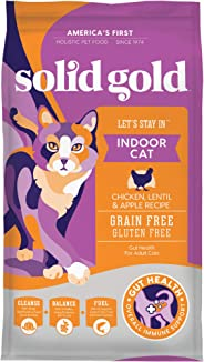 Solid Gold - Let's Stay In - Grain-Free - Indoor Formula Dry Cat Food with Superfoods - Hairball Control - Protected Probiot