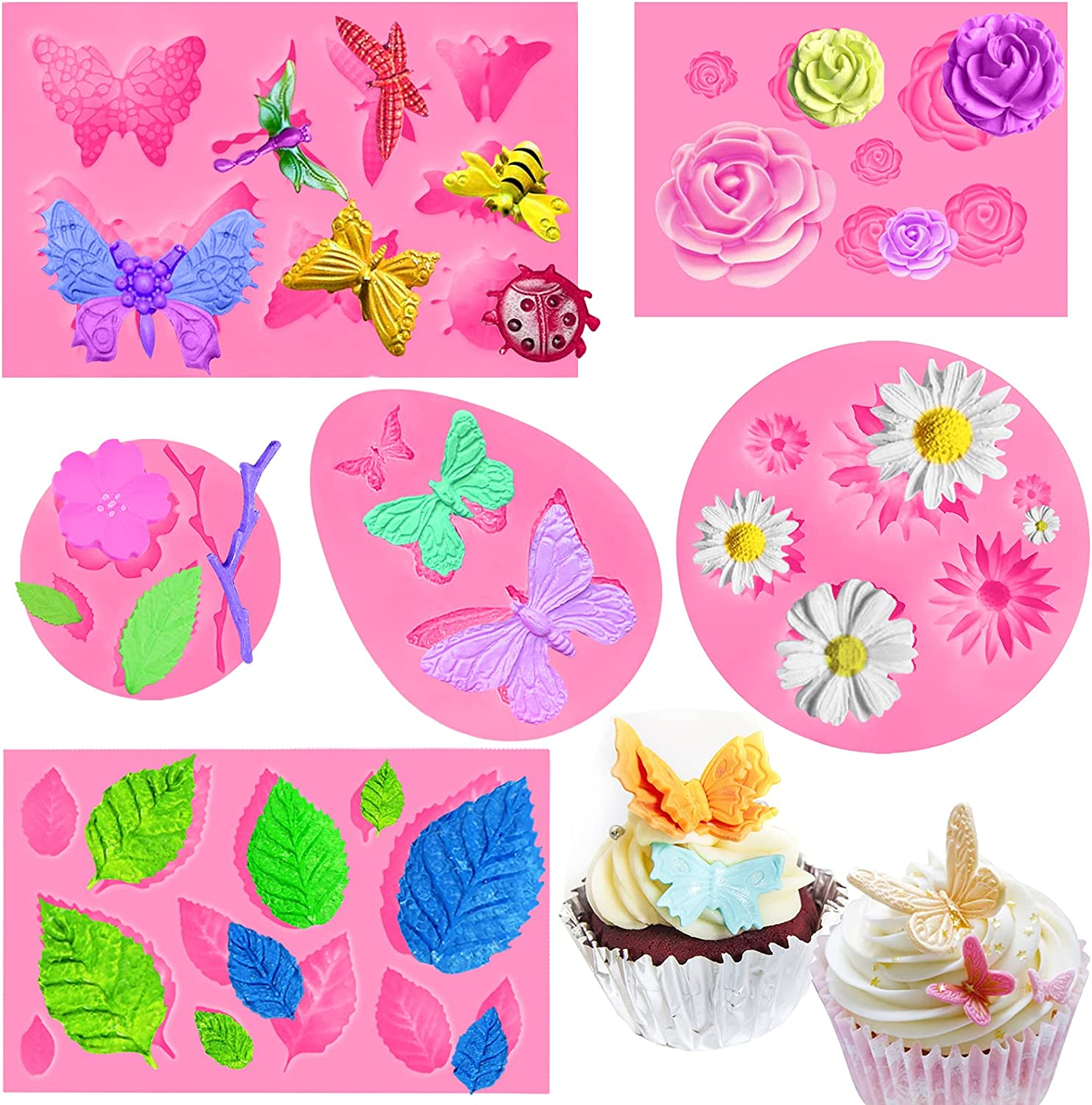 6Pack Silicon Fondant Molds for Chocolate, Mini Daisy Flower Butterfly Leaf Rose Shape Silicon Molds for Cake Pop Lollipop Cupcake Topper Decor, Polymer Clay