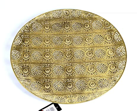 Decorative Plate Luminous Lace Collection Silver Tray Extra Large  sc 1 st  Amazon.com & Amazon.com: Decorative Plate Luminous Lace Collection Silver Tray ...