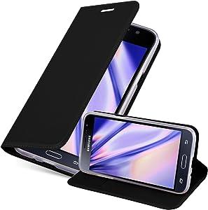 Cadorabo Funda Libro para Samsung Galaxy J3 2016 en Classy Negro - Cubierta Proteccíon con Cierre Magnético, Tarjetero y Función de Suporte - Etui Case Cover Carcasa