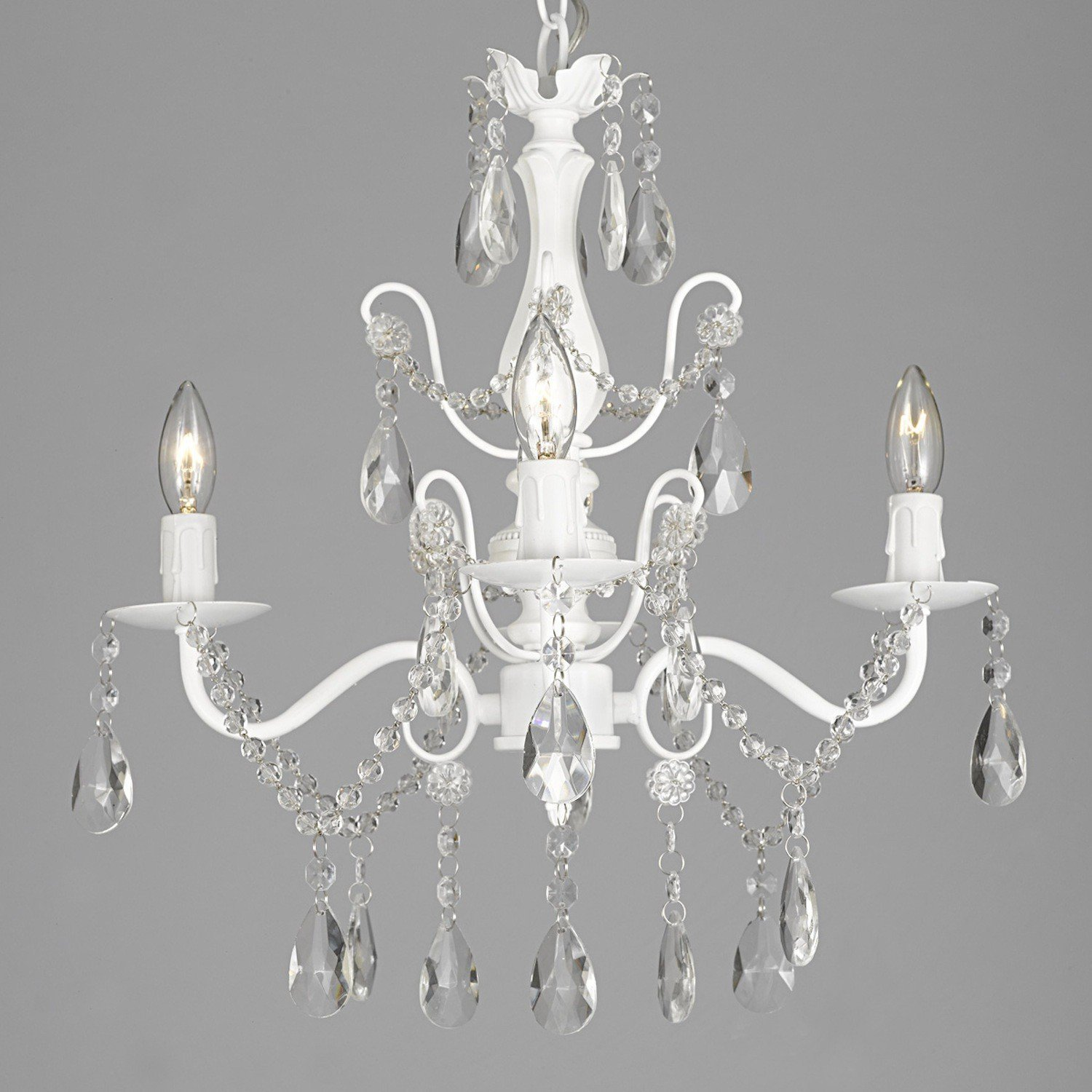 Wrought Iron and Crystal 4 Light White Chandelier