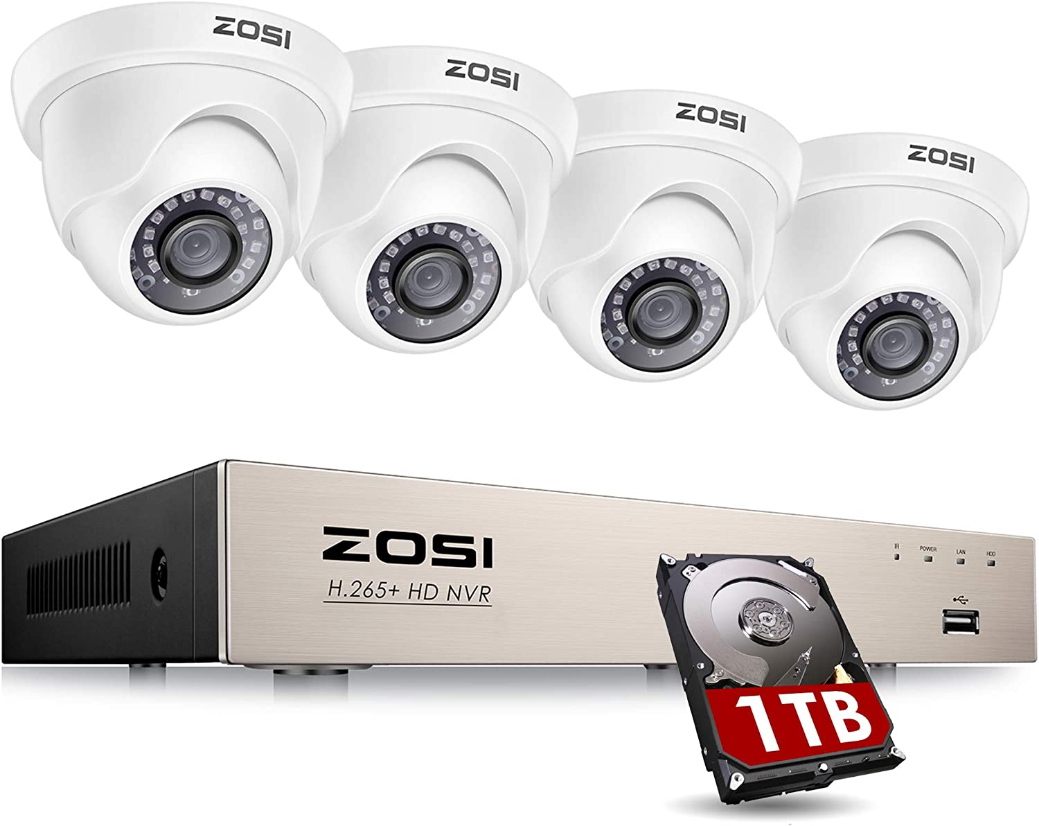 ZOSI 8CH PoE Home Security Camera System with 1TB Hard Drive,H.265+ 8 Channel 5MP NVR Recorder and 4pcs Wired 1080P Outdoor Indoor PoE IP Dome Cameras with Night Vision, Motion Alert, Remote Access