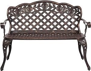 CJWSLYT Garden Furniture Sets Outdoor Rest 42.5inch Outdoor Cast Aluminum Leisure Rose Couple Bench Garden Furniture Covers ZDANFDD