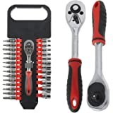 "SPARES2GO 27 Piece 1/4"" Ratchet Wrench, Socket & Driver Bit Set (Torx, Phillips, Flat, Hex, Allan Key, Security, 3mm - 14mm"