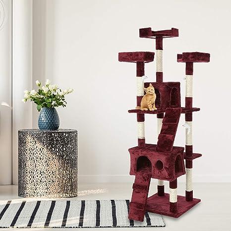 Aqpet - Árbol para gato, 170 cm, con caseta y rascador, parque de