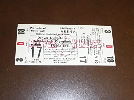444e42486 1949-50 1st year NBA INDIANAPOLIS OLYMPIANS VS DENVER NUGGETS FULL ...