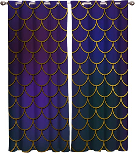Laibao Room Darkening Blackout Curtains Gromment Top Dreamlike Mermaid Geometric Fish Scales Printed Drape