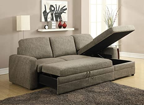 1PerfectChoice Derwyn Light Brown Storage Sleeper Sectional Sofa Set : sectional with storage - Sectionals, Sofas & Couches