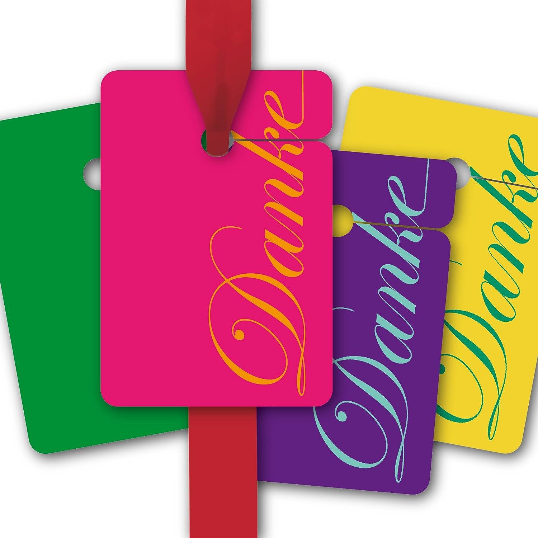 Danke Geschenk Anhänger | Papieranhänger | Geschenk Karten (64Stk) in schönen Farben: Danke