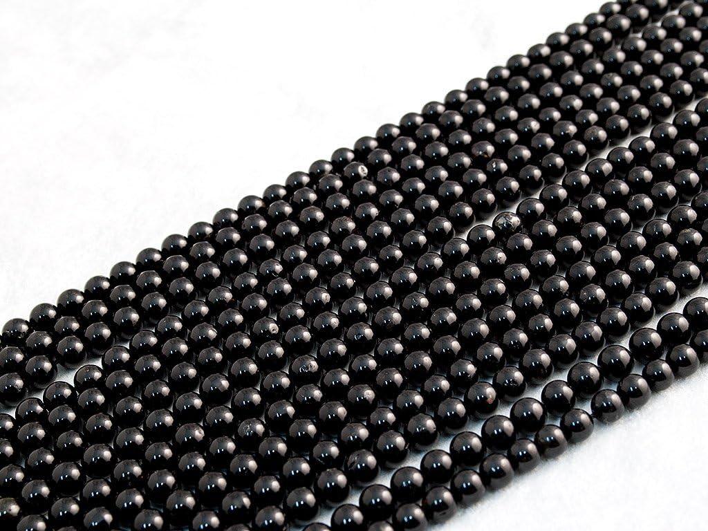 Beads Ok, Abalorios Cuentas Piedra Semipreciosa Turmalina Negra Naturales Esferas Bola Redonda 6mm Cerca de 40cm un Tira, Vendido por Tira. 6mm Round Natural Black Tourmaline Gemstone Beads