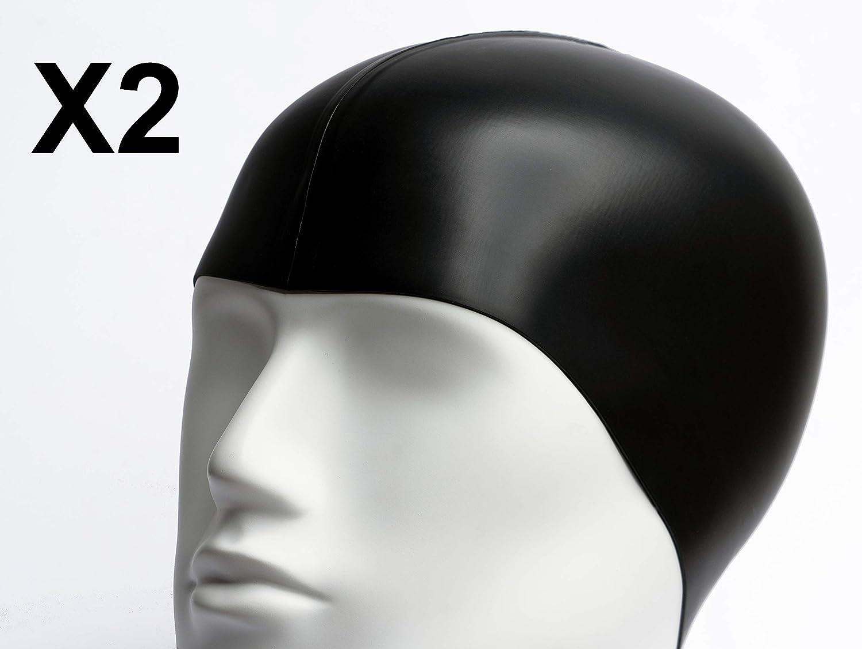 2X Cuffie da Nuoto in Silicone Cuffia da Bagno Impermeabile per Adulto c485fea08d04