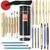 Arteza Pottery Tools & Clay Sculpting Tools, Set of 22 Pieces in PET Storage Tube, for Clay, Pottery, Ceramics Artwork…