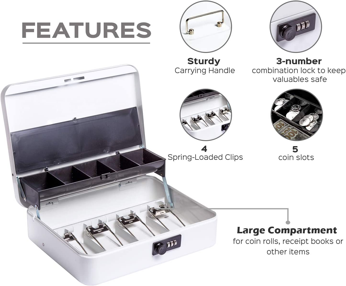 Cash Box by OSAFE Money Box with Lock /& Security Cable 5 Compartments Cash Safe Box with New Lid Coin Tray White Large 3.5H x 9.5W x 11.8L Inch Metal Money Box with 4 Keys 4 Spring Loaded