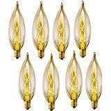 lingruiyi 8-Pack Edison Vintage Incandescent Chandelier 40W 110-130V, 280 Lumen Bent Flame Tip Bulb with Candelabra Base (E12
