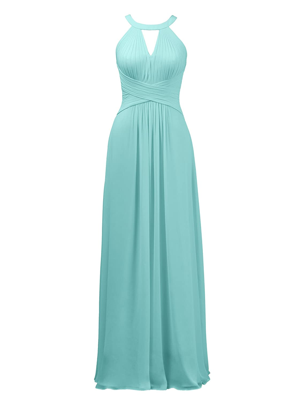 Aqua bluee Alicepub Keyhole Bridesmaid Dress Long Formal Evening Prom Gown for Wedding Maxi