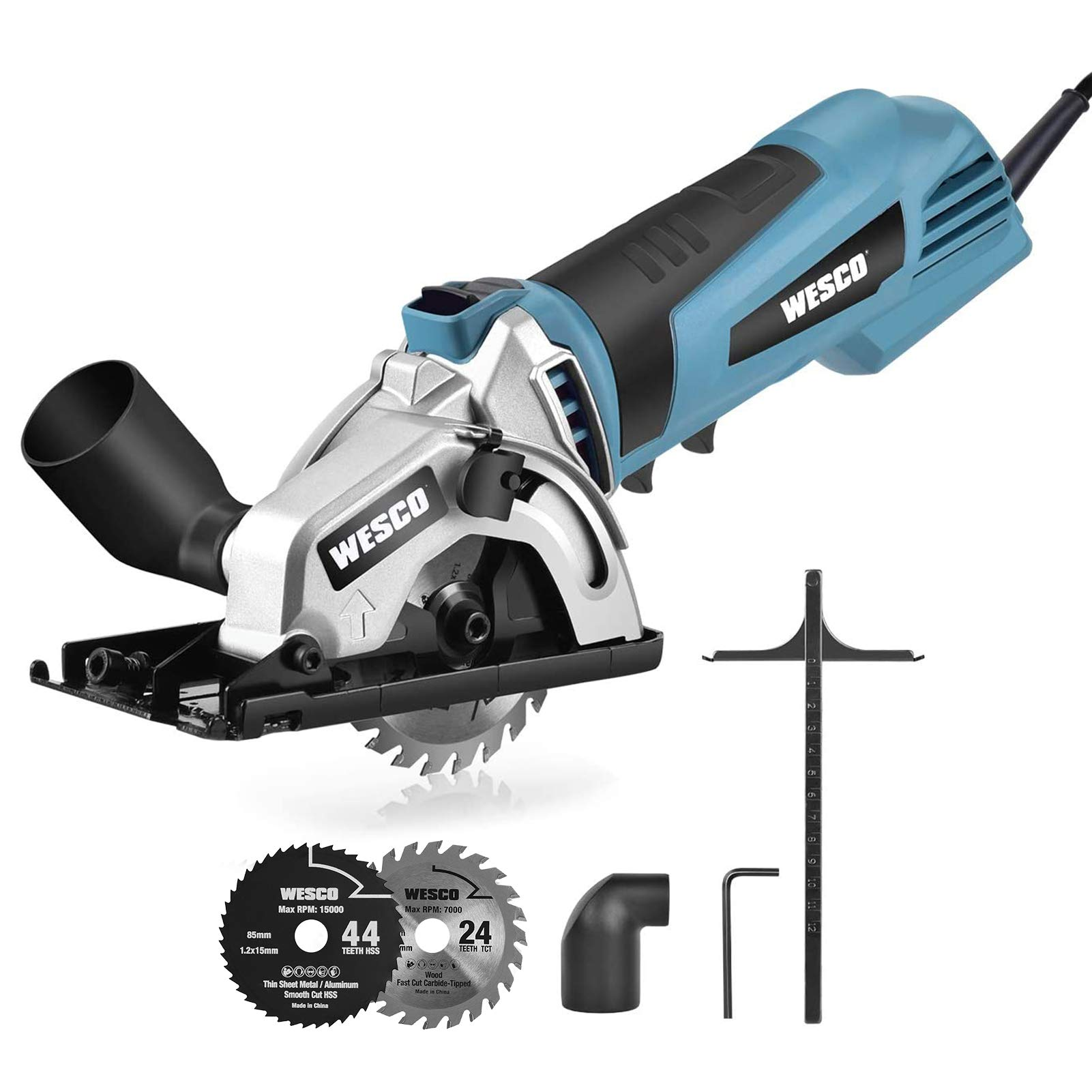 Mini Circular Saw, WESCO 500W 5100 RPM Compact Circular Saw with 2 Saw Blades Cutting Depth 27mm for Wood, Soft Metal, Tile and Plastic Cuts /WS3453