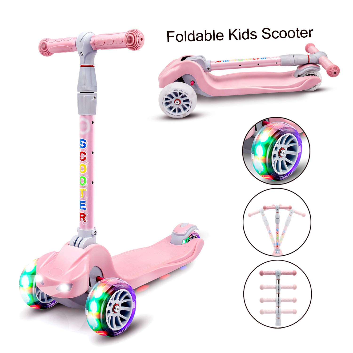 YX Kick Scooter for Kids 3 Wheel Toddlers Scooter 4 Adjustable Height Lean to Steer with PU LED Flashing Wheels for Boys Girls from 3 to 14 Years Old (Pink)